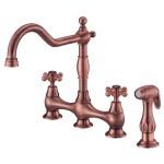 Danze Opulence Antique Copper Cross Handle Bridge Kitchen Faucet With Faucetlist Com