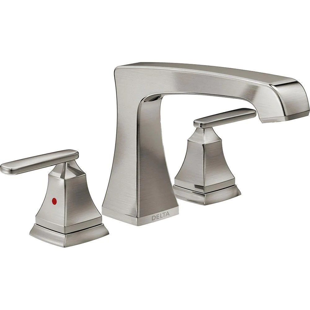 delta ashlyn 2 handle deck mount roman tub faucet trim kit in stainless steel finish valve not included 685398