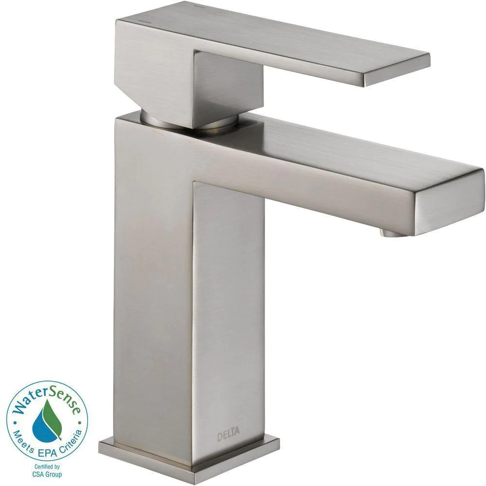 delta ara single hole 1 handle bathroom faucet in stainless 702292
