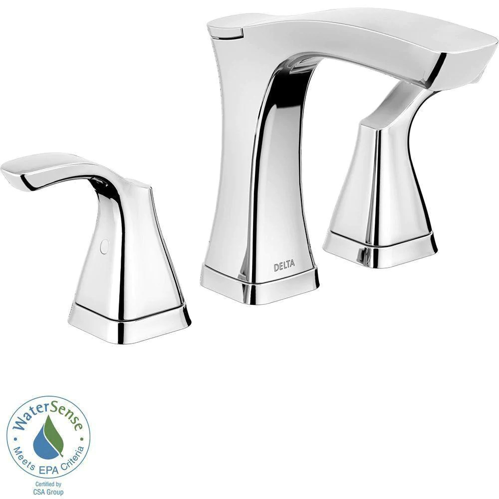 delta tesla 8 inch widespread 2 handle bathroom faucet in chrome with metal drain assembly 718251