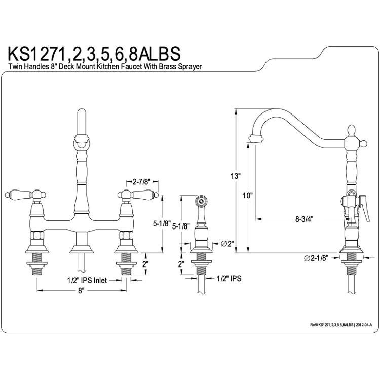 kingston satin nickel 8 centerset kitchen faucet with side sprayer ks1278albs