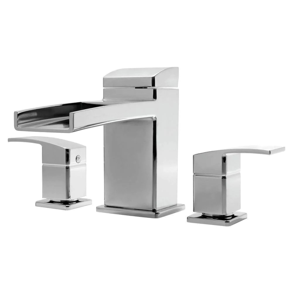 price pfister kenzo 2 handle deck mount waterfall roman tub faucet trim kit in polished chrome valve not included 534635