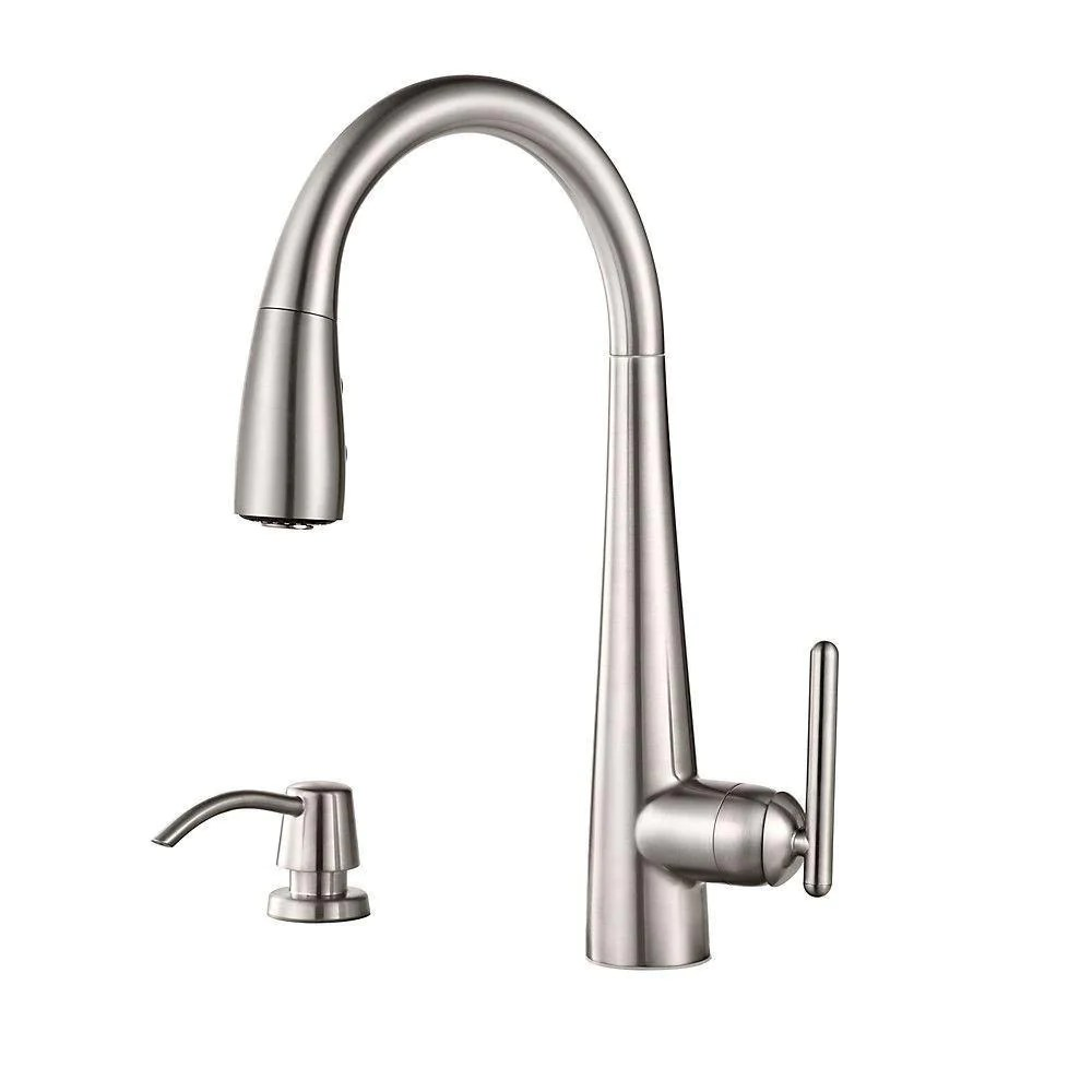 price pfister lita single handle pull down sprayer kitchen faucet with soap dispenser in stainless steel 642758