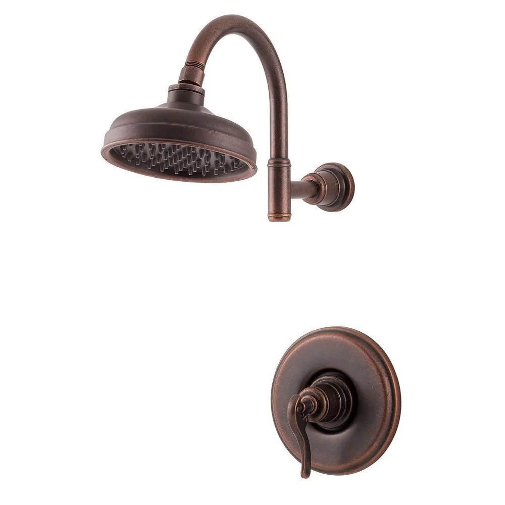 price pfister ashfield 1 handle shower faucet trim kit in rustic bronze valve not included 763608