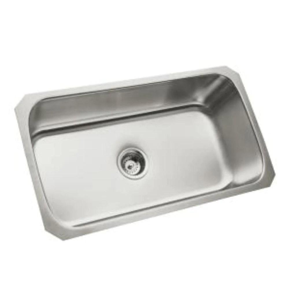 sterling mcallister undermount stainless steel 29 1 2x15 3 14x9 5 16 0 hole single bowl kitchen sink 246081