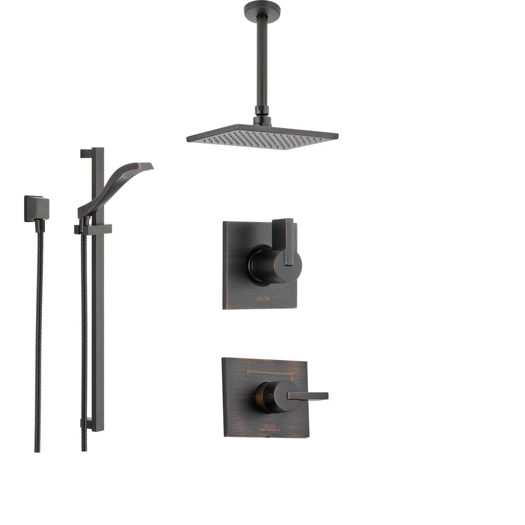 Delta Vero Venetian Bronze Shower System With Normal Shower Handle 3 Setting Diverter Large Modern Ceiling Mount Rain Showerhead And Handheld