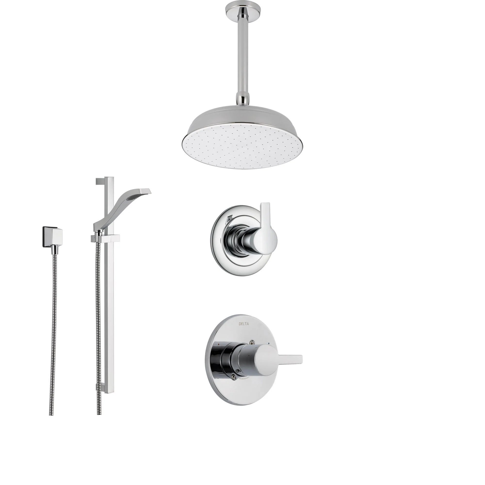 Delta Compel Chrome Shower System With Normal Shower Handle 3 Setting Diverter Ceiling Mount Large Rain Showerhead And Handheld Spray Ss146181