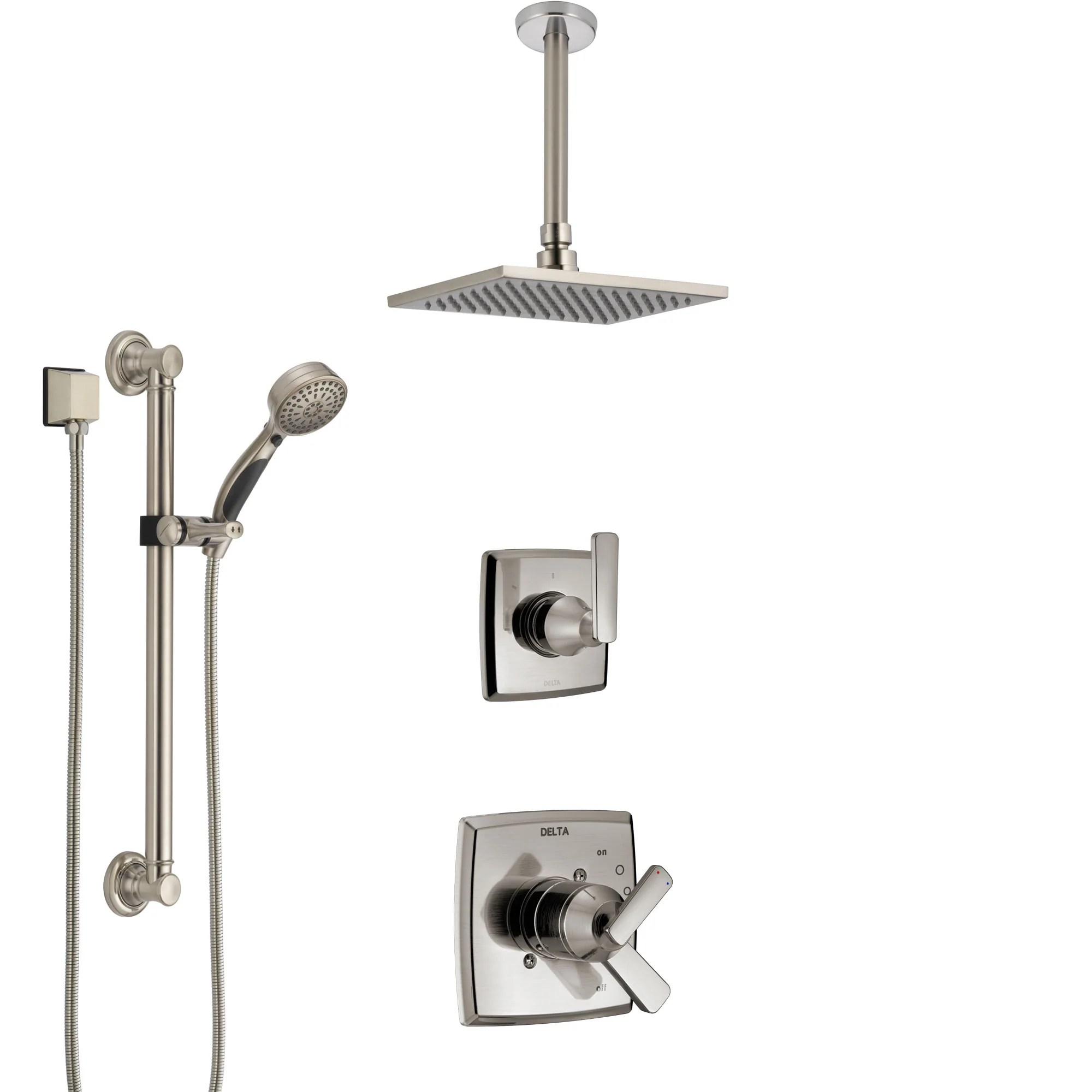 Delta Ashlyn Dual Control Handle Stainless Steel Finish Shower System Diverter Ceiling Mount Showerhead And Hand Shower With Grab Bar Ss1764ss2