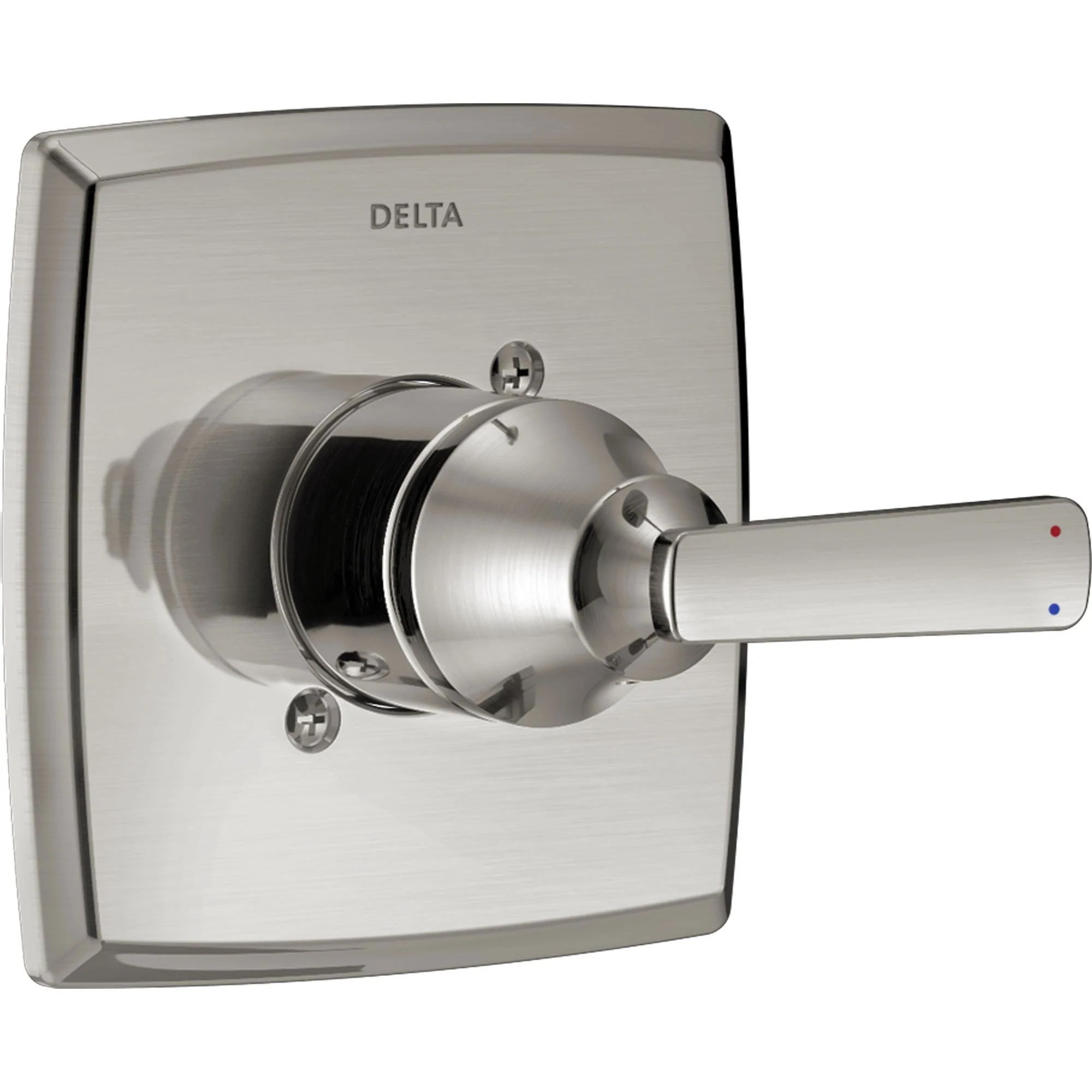 delta ashlyn 14 series modern stainless steel finish single handle pressure balanced shower faucet control includes rough in valve d1256v