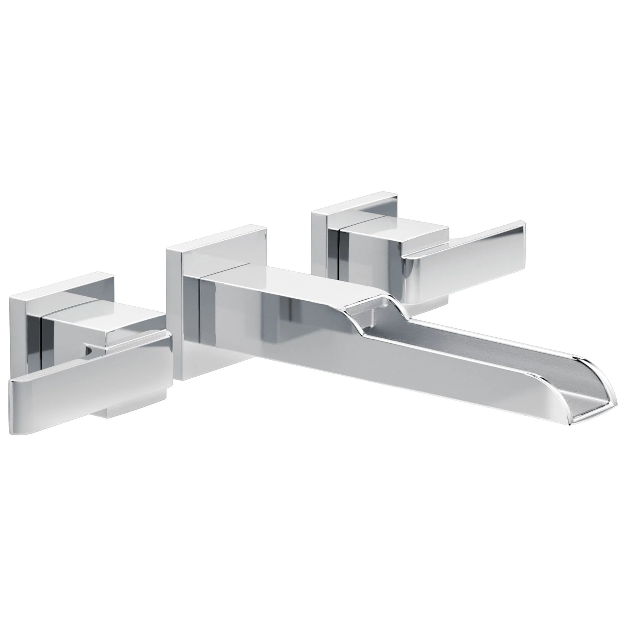 delta ara collection chrome two handle modern wall mount bathroom lavatory sink faucet with channel spout includes rough in valve d2089v