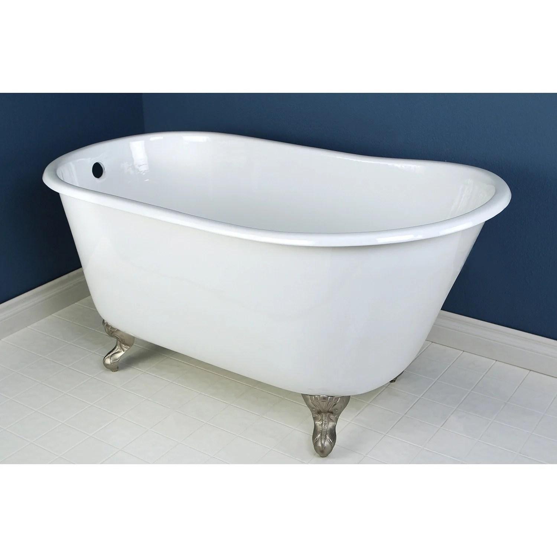 53 Small Cast Iron White Slipper Clawfoot Bathtub With Satin Nickel F