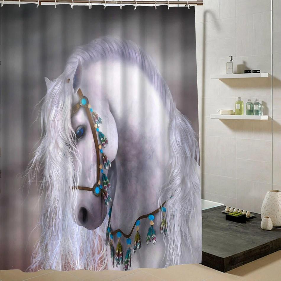 rideaux de douche imprimes hd tete de cheval blanc au licol decore