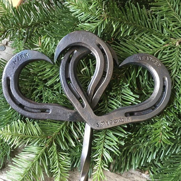 Personalized Horseshoe Heart Cake Topper For Country