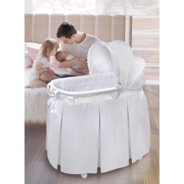 Badger Basket Wishes Oval Baby Bassinet White