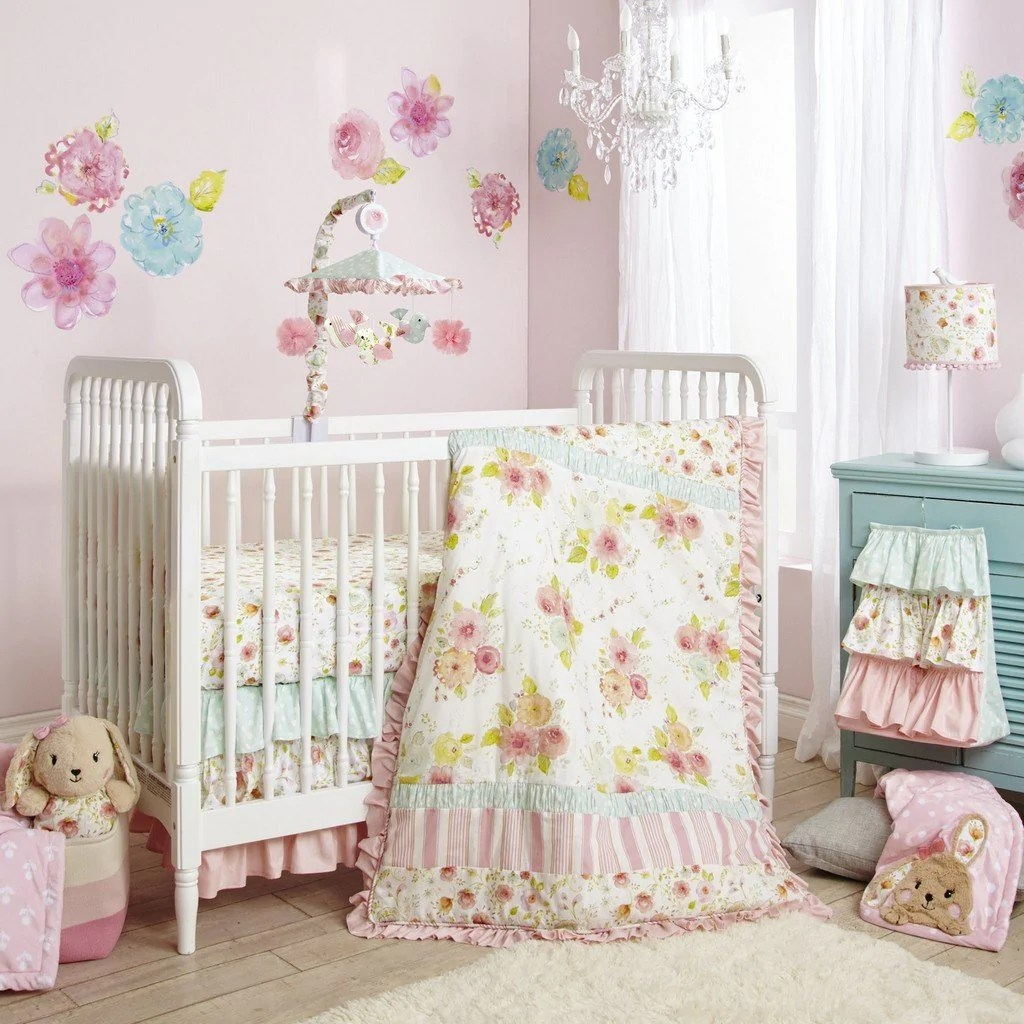 lambs and ivy sweet spring 4 piece crib bedding set