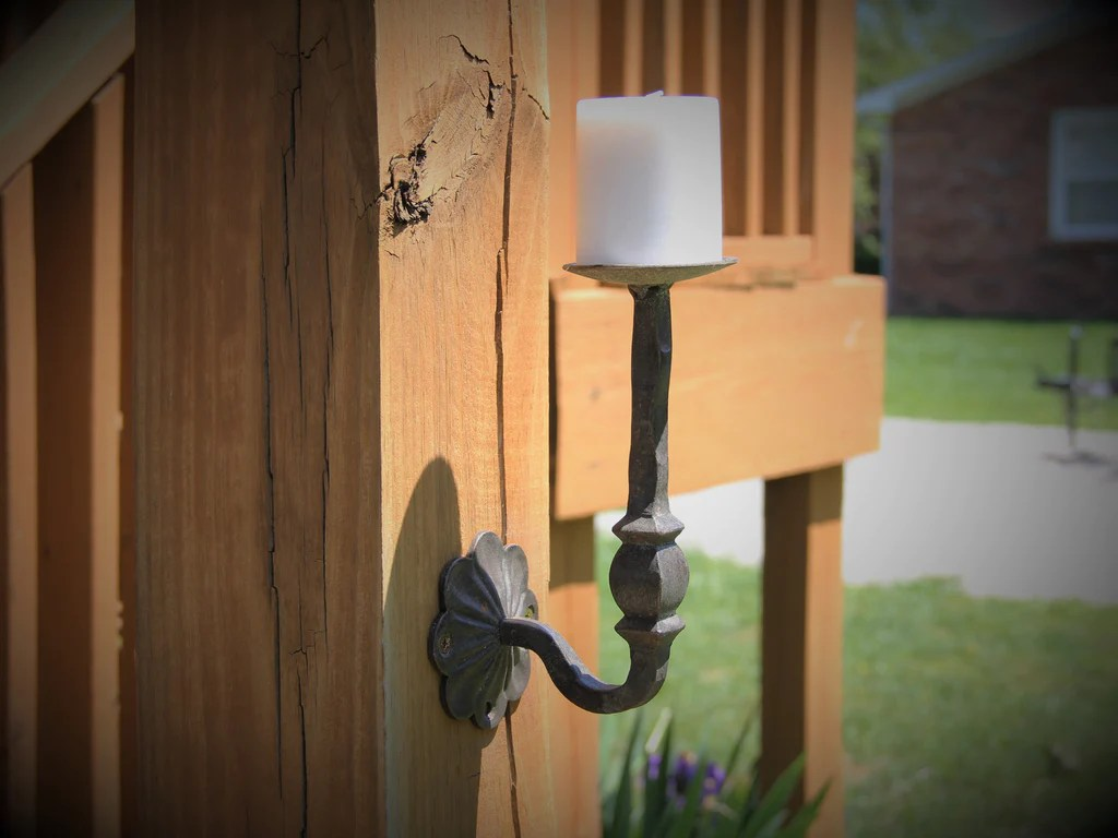 Hammered Iron Stem Wall Mounted Candle Holder - Madison ... on Wall Mounted Candle Holder id=37106