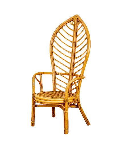 vintage 1970s rattan leaf chair
