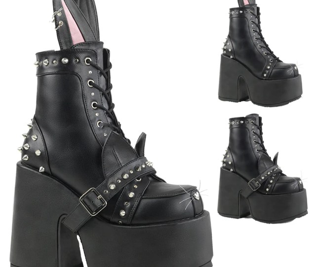 Womens Demonia Camel Chunky Heel Platform Boot Black Goth Punk Bunny Studs Jpg 1001x1001 Cute Goth