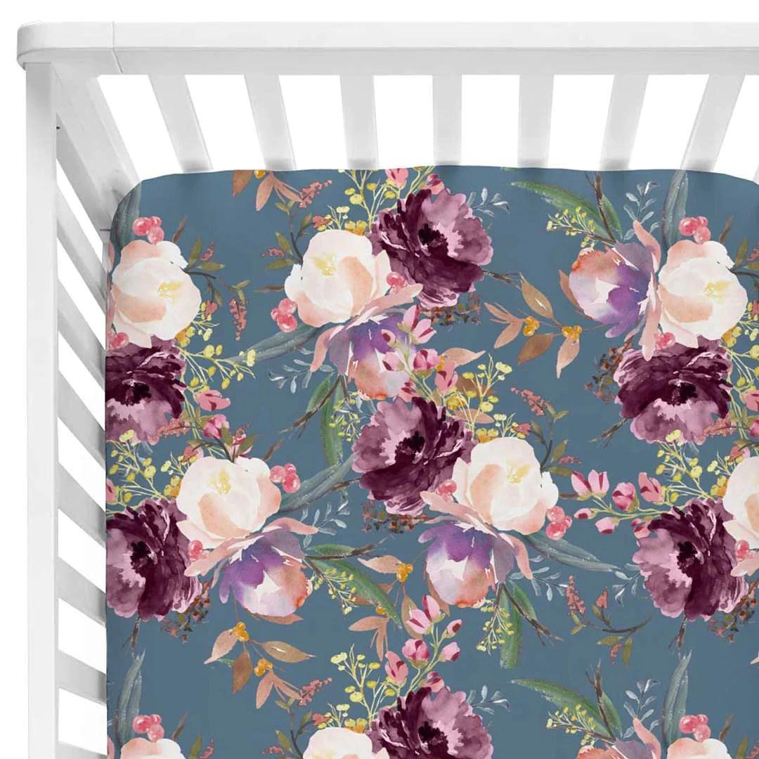 grae s dusty blue floral crib sheet