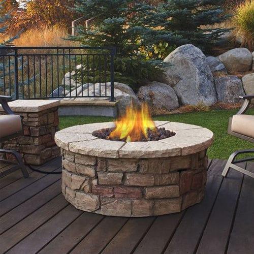 Sedona Outdoor Fireplace Round Propane/Natural Gas Fire Table on Outdoor Gas Fireplace For Deck id=33341