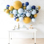 Mid Century Hues Backdrop Balloon Garland Install Piece With Greener Paris312