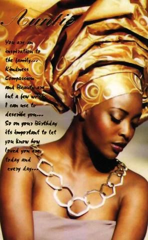 Ethnic Birthday Card For Black Auntie