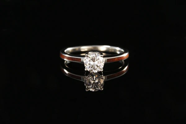 Hawaiian Koa Wood And 14K White Gold Diamond Ring