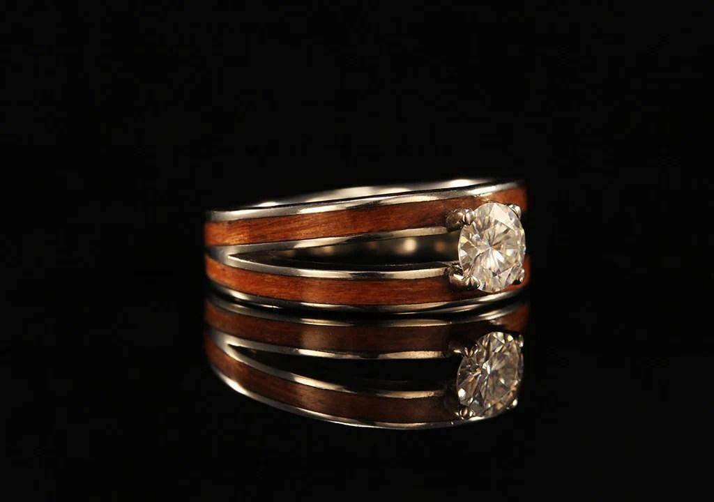 Womens Cherry Wood Ring 14K Gold Diamond Split Ring