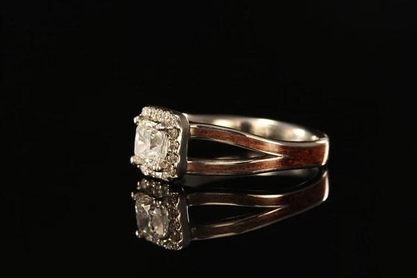 Cushion Cut Halo Diamond Koa Wood Engagement Ring Chasing Victory