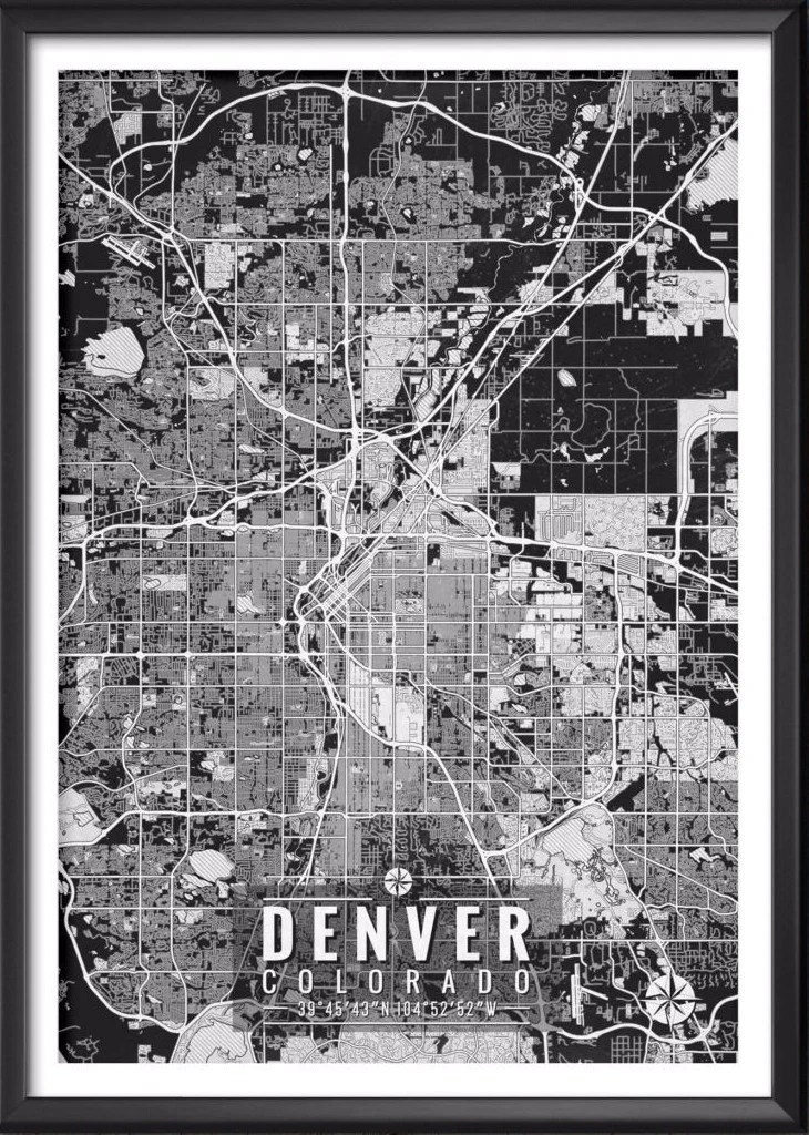 Denver Colorado Map with Coordinates     Ideate Create Studio Denver Colorado Map with Coordinates   Ideate Create Studio   Ideate Create  Studio