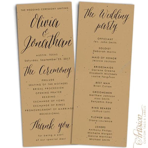 Wedding Programs 425 X 11 Kraft Artision