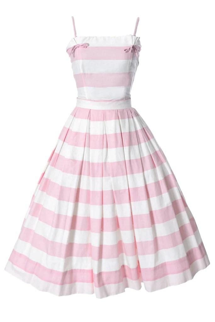 Vintage Pink And White Striped Dress Dressing Vintage