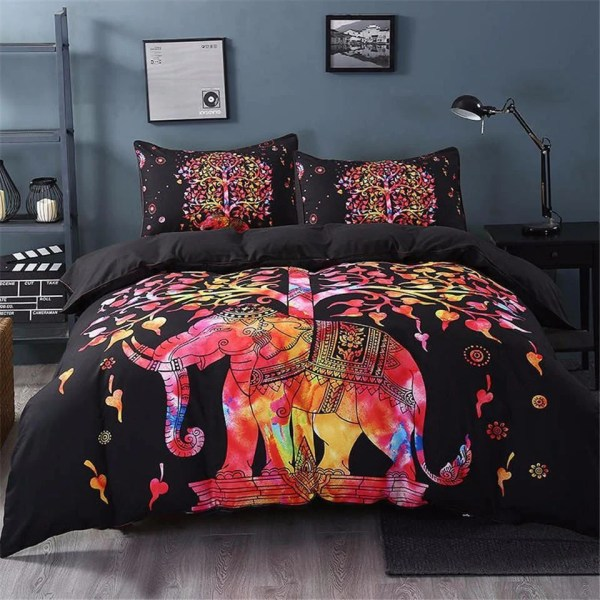 Freedom Bed Linen   Mobile Homes Comfort And Freedom Camping Punta         Freedom Bed Linen Psychedelic Boho Elephant Tree Of Life Printed Black  Bedding Set
