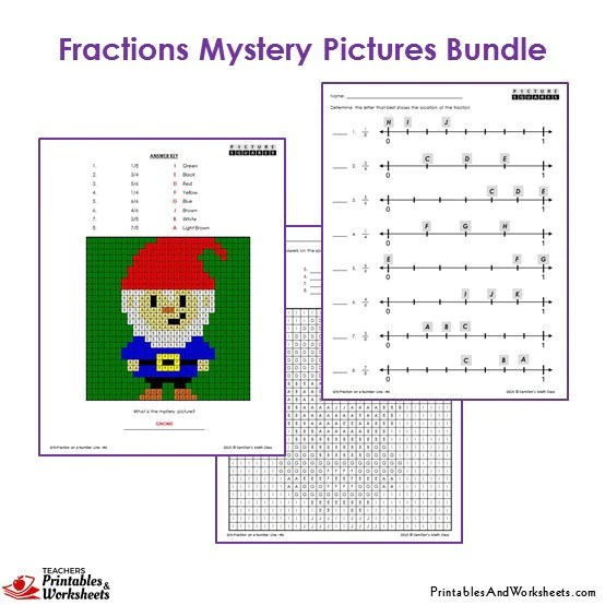 3rd Grade Fractions Mystery Pictures Coloring Workshets