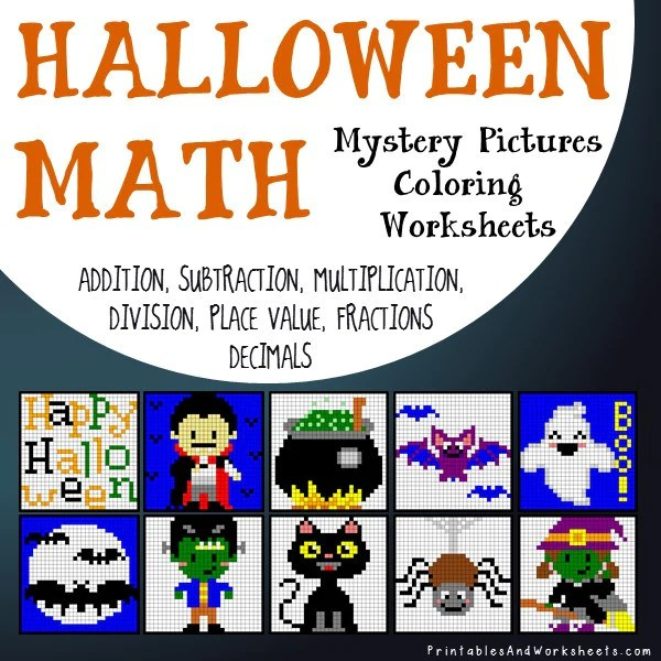 halloween subtraction coloring sheets