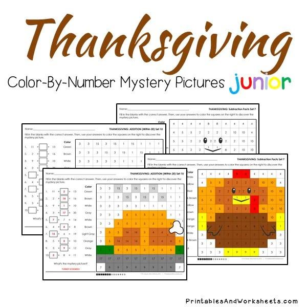 Thanksgiving Math Color By Number Bundle Printables Worksheets