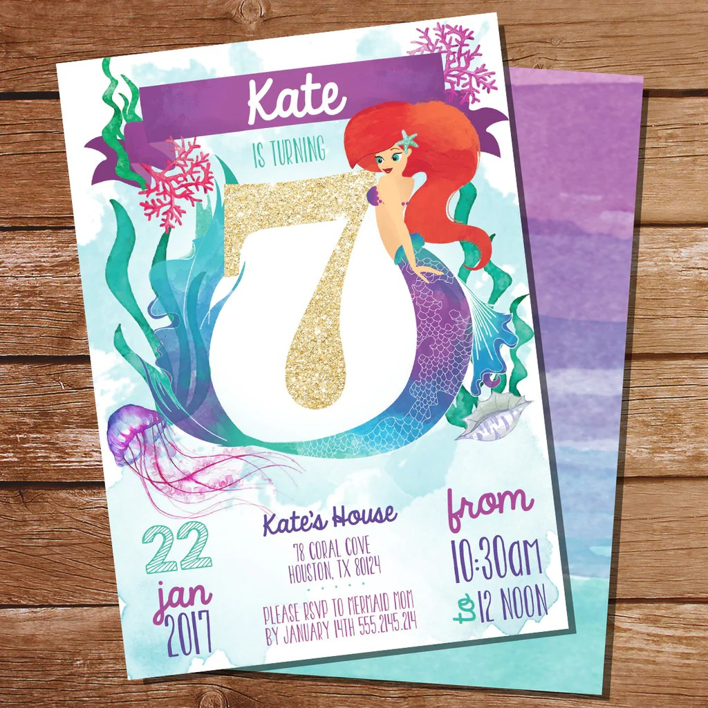 watercolor mermaid birthday party invitation for a girl 7th birthday sunshine parties
