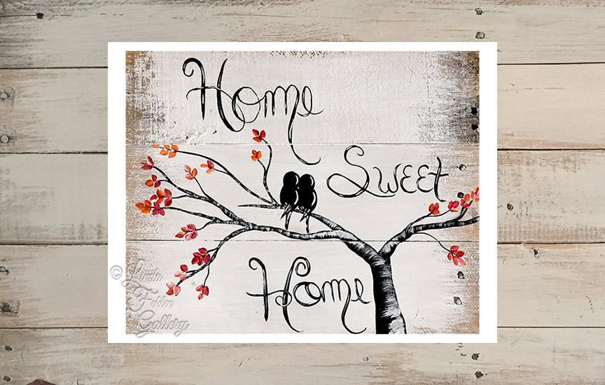 Home Sweet Home With Love Birds Fall Colors Art Print