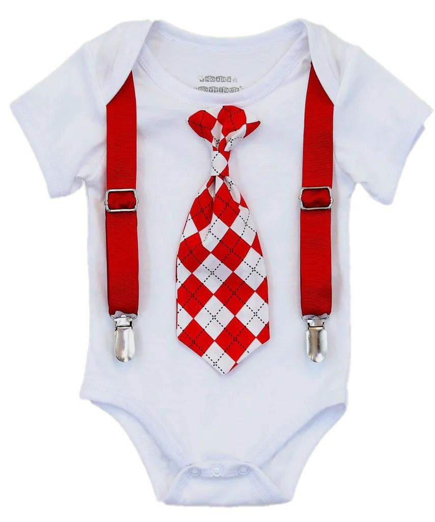 Valentines Day Shirt Baby Boy Red And Black Argyle Tie