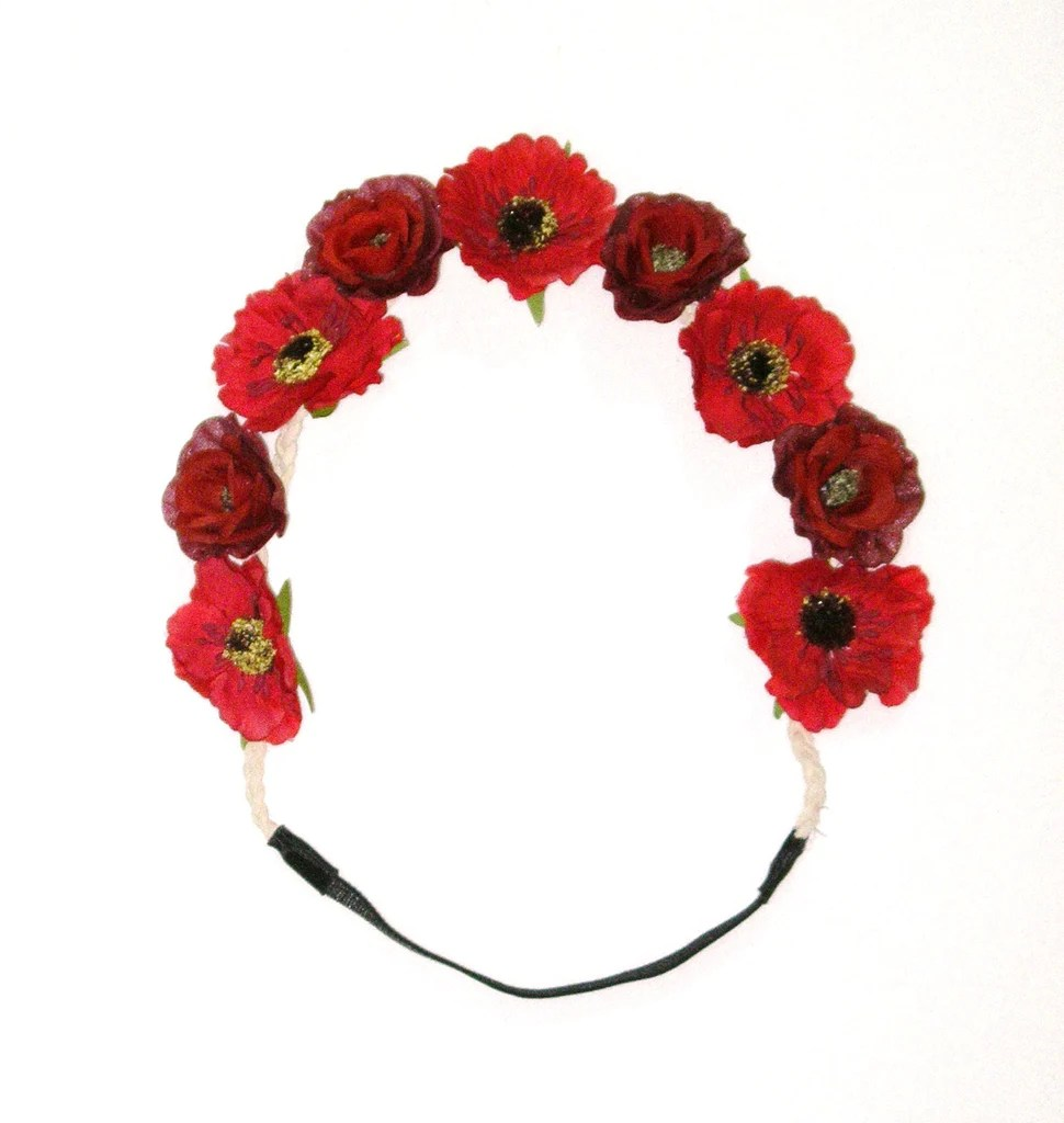 Red Poppy Flower Crown Floral Hair Wreath Boho Headband Crimson         Red Poppy Flower Crown Floral Hair Wreath Boho Headband Crimson Poppies  Woodstock Hippie Be Sure To