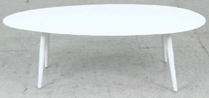 oblong aluminium coffee table white