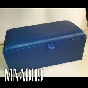 blue plain top faux leather large ottoman storage box in 2 sizes