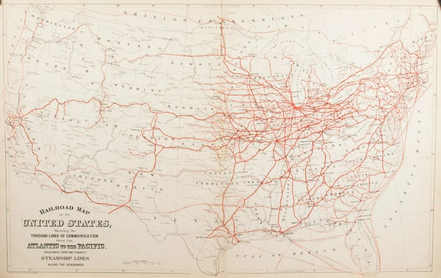 Maps   United States Map Tagged  1800s    Historic Accents 1881 Railroad Map of the United States   S Mitchell Jr