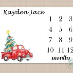 Christmas Red Truck Milestone Blanket Christmas Tree Monthly Vintag Re Sweet Blooms Decor