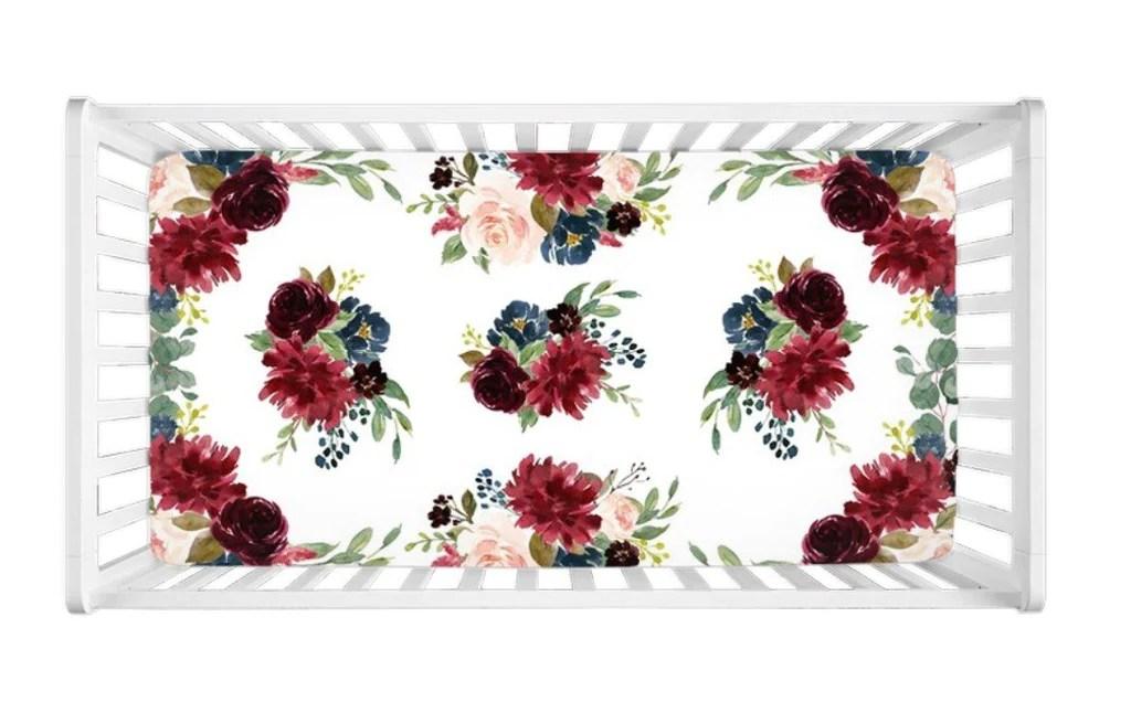 floral crib sheet blush pink burgundy red navy blue maroon flowers c114