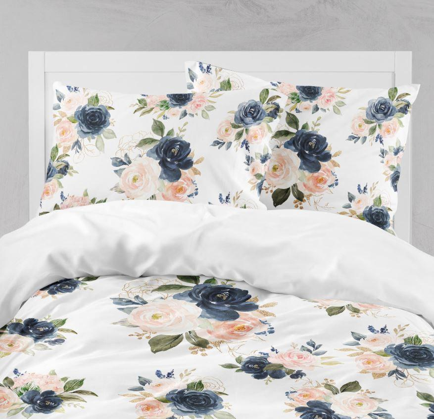 kids comforter navy blue blush pink coral flowers bedding set bedroom room decor floral bedding set pillow shams throw pillow 105