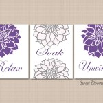 Purple Floral Bathroom Wall Art Lavender Bathroom Decor Purple Gray Fl Sweet Blooms Decor