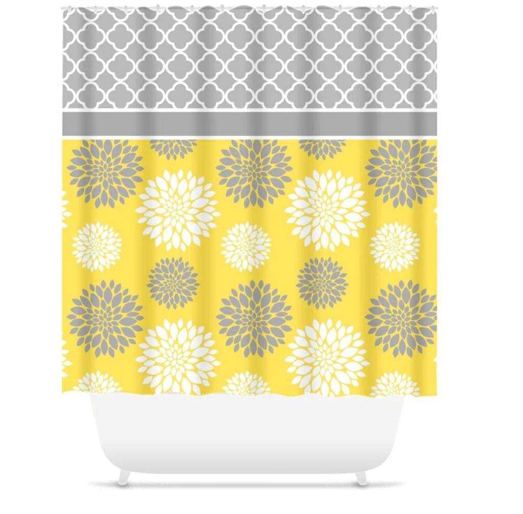 yellow gray floral shower curtain bathroom decor modern simple shower curtain guest bathroom girls bathroom s113