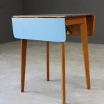 Retro Blue Formica Drop Leaf Kitchen Table Kernow Furniture