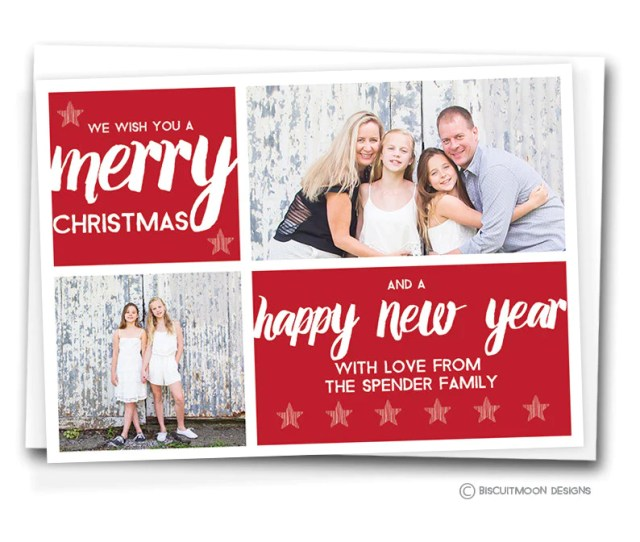 Simple Script Stars Personalised Christmas Cards